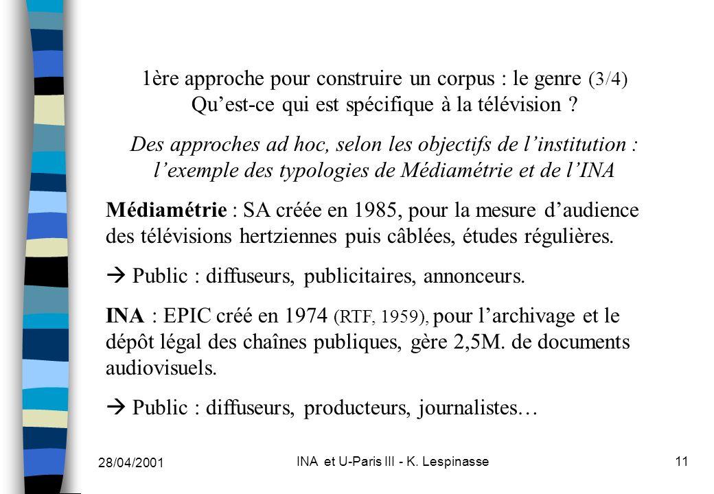 28/04/2001 INA et U-Paris III - K. Lespinasse11 1ère approche pour construire un corpus : le genre (3/4) Quest-ce qui est spécifique à la télévision ?
