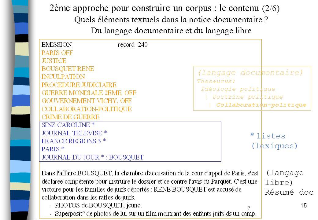 15 2ème approche pour construire un corpus : le contenu (2/6) * listes (lexiques) (langage libre) Résumé doc Quels éléments textuels dans la notice documentaire .