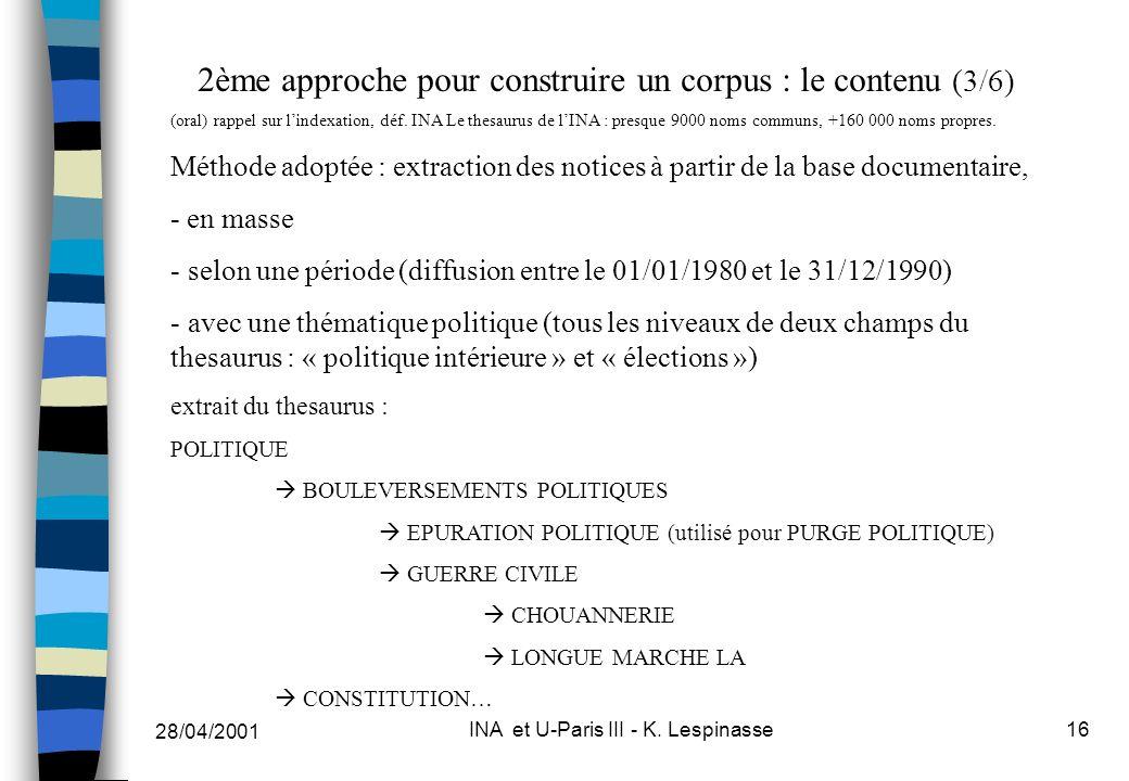 28/04/2001 INA et U-Paris III - K. Lespinasse16 2ème approche pour construire un corpus : le contenu (3/6) (oral) rappel sur lindexation, déf. INA Le