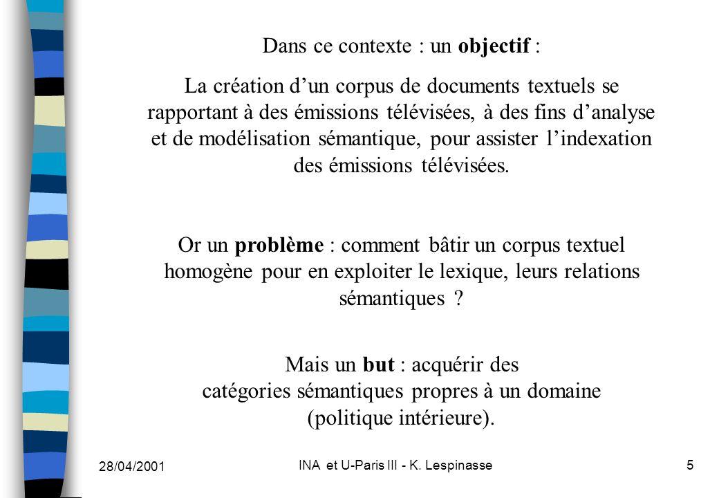 28/04/2001 INA et U-Paris III - K. Lespinasse5 Dans ce contexte : un objectif : La création dun corpus de documents textuels se rapportant à des émiss