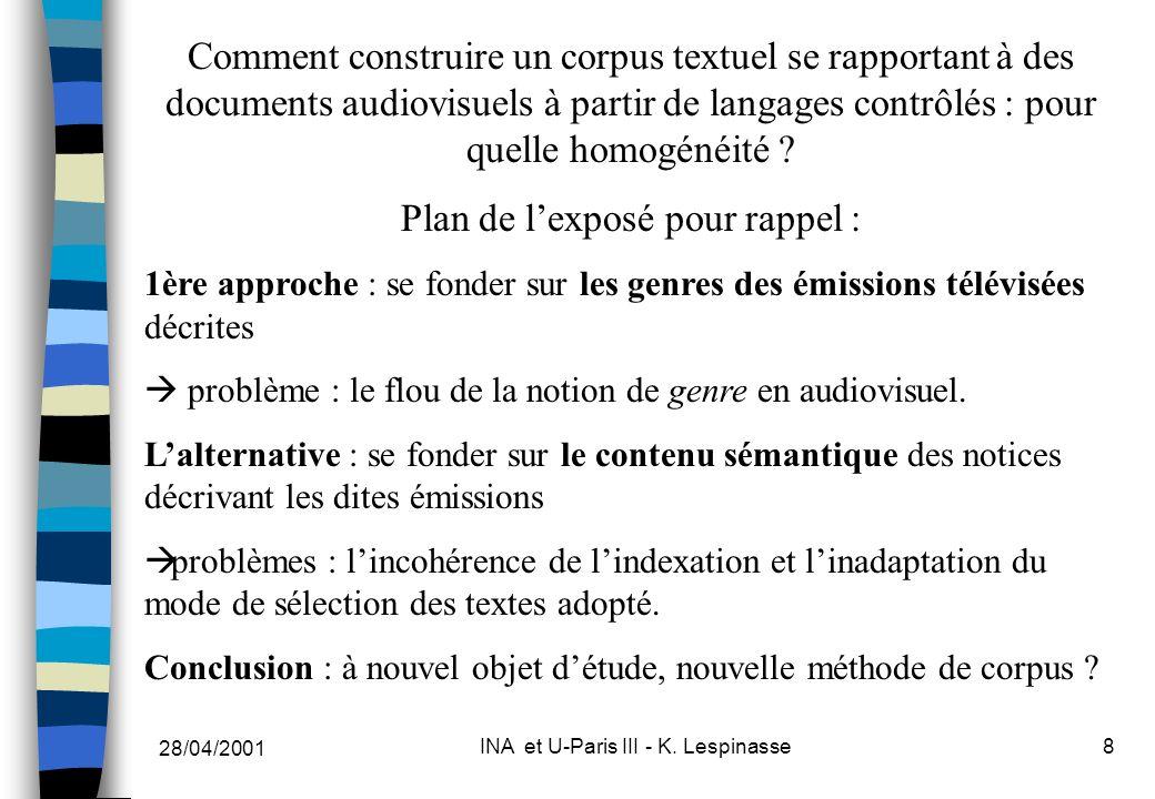 28/04/2001 INA et U-Paris III - K. Lespinasse8 Comment construire un corpus textuel se rapportant à des documents audiovisuels à partir de langages co