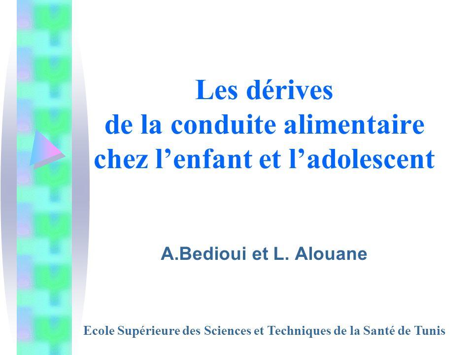 Les dérives de la conduite alimentaire chez lenfant et ladolescent A.Bedioui et L. Alouane Ecole Supérieure des Sciences et Techniques de la Santé de