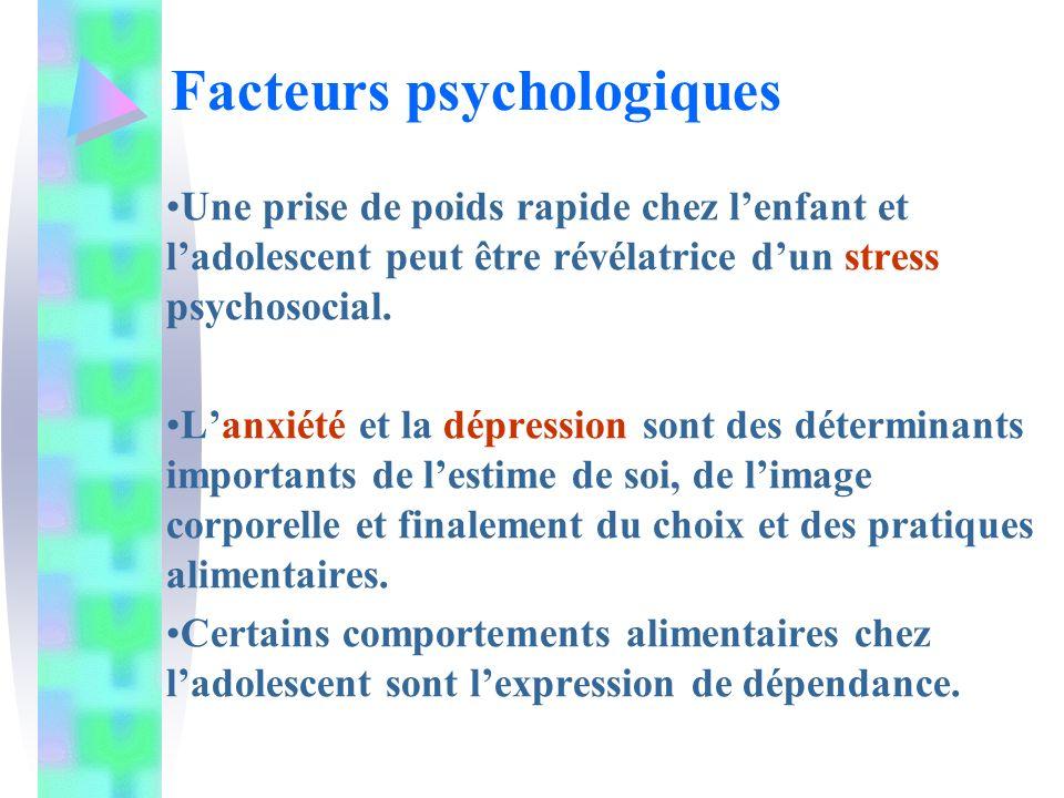 Une prise de poids rapide chez lenfant et ladolescent peut être révélatrice dun stress psychosocial. Lanxiété et la dépression sont des déterminants i