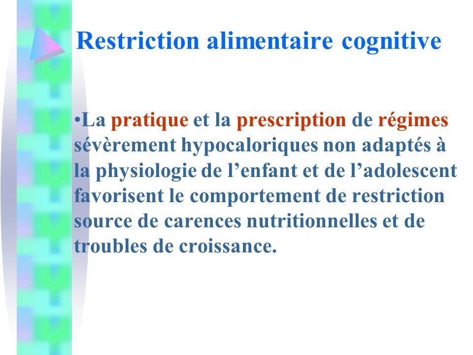 La pratique et la prescription de régimes sévèrement hypocaloriques non adaptés à la physiologie de lenfant et de ladolescent favorisent le comportement de restriction source de carences nutritionnelles et de troubles de croissance.