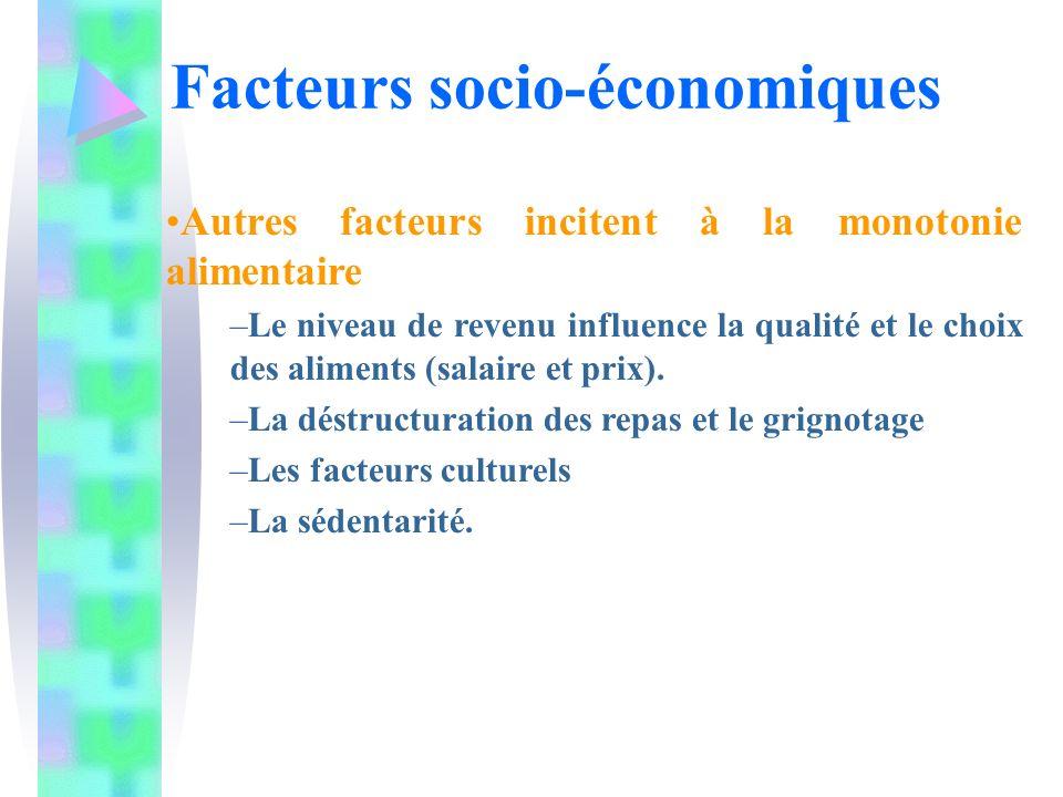 Autres facteurs incitent à la monotonie alimentaire –Le niveau de revenu influence la qualité et le choix des aliments (salaire et prix). –La déstruct