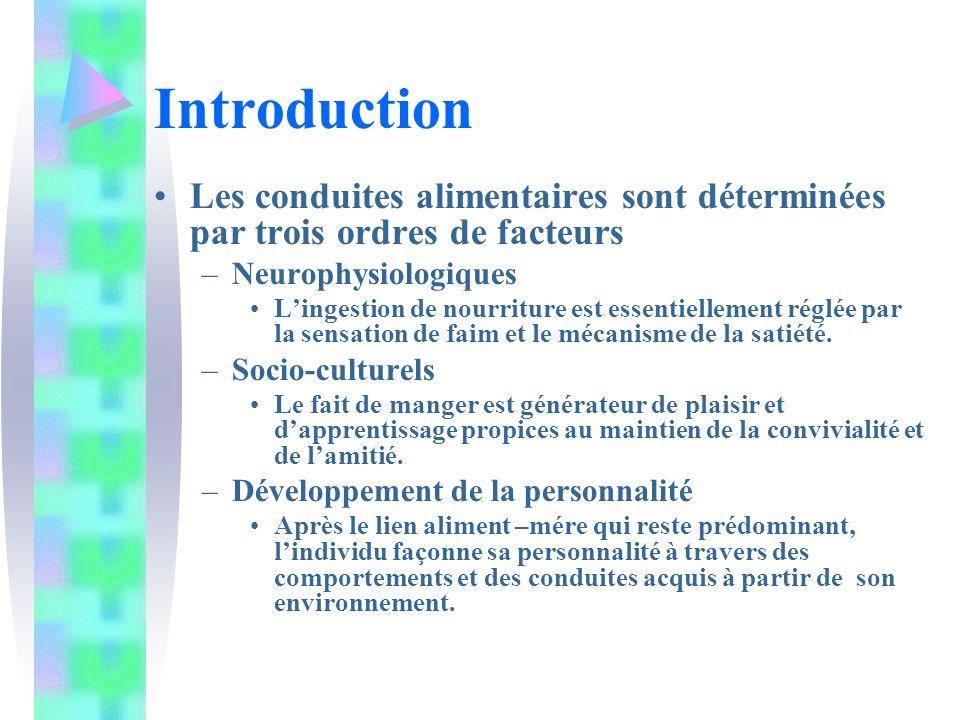 Introduction Les conduites alimentaires sont déterminées par trois ordres de facteurs –Neurophysiologiques Lingestion de nourriture est essentiellement réglée par la sensation de faim et le mécanisme de la satiété.