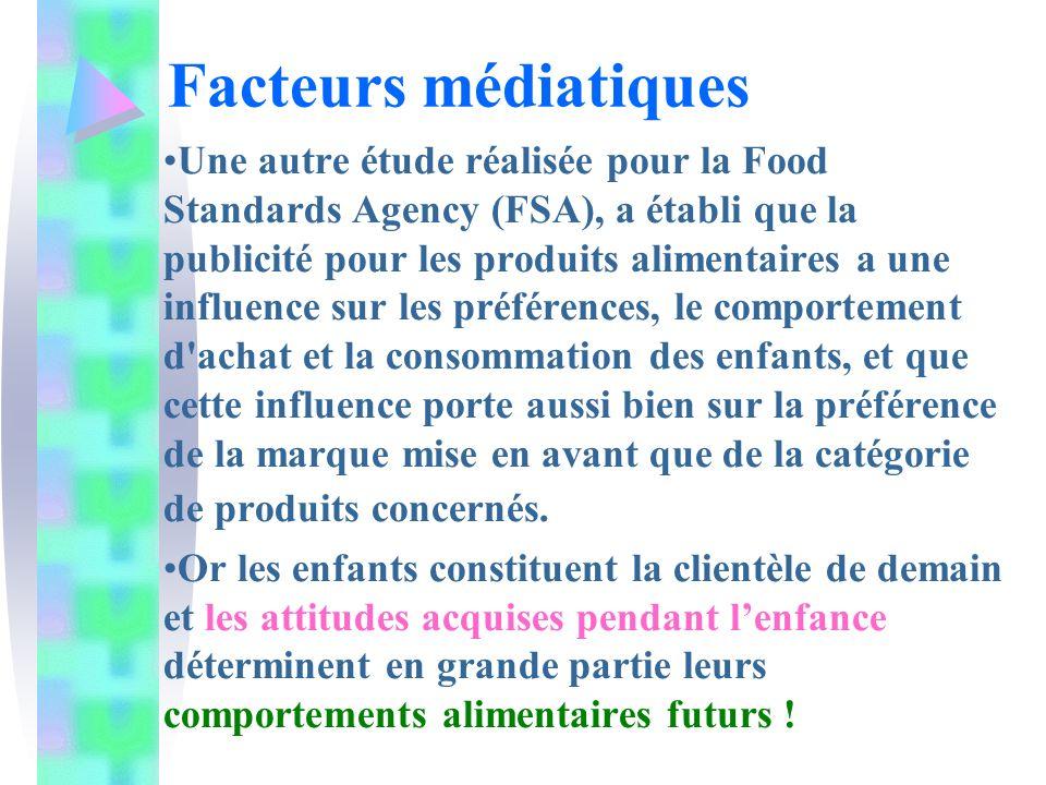 Une autre étude réalisée pour la Food Standards Agency (FSA), a établi que la publicité pour les produits alimentaires a une influence sur les préférences, le comportement d achat et la consommation des enfants, et que cette influence porte aussi bien sur la préférence de la marque mise en avant que de la catégorie de produits concernés.