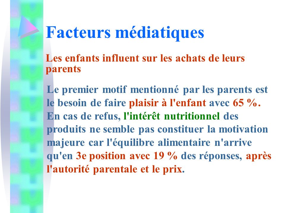 Facteurs médiatiques Les enfants influent sur les achats de leurs parents Le premier motif mentionné par les parents est le besoin de faire plaisir à l enfant avec 65 %.