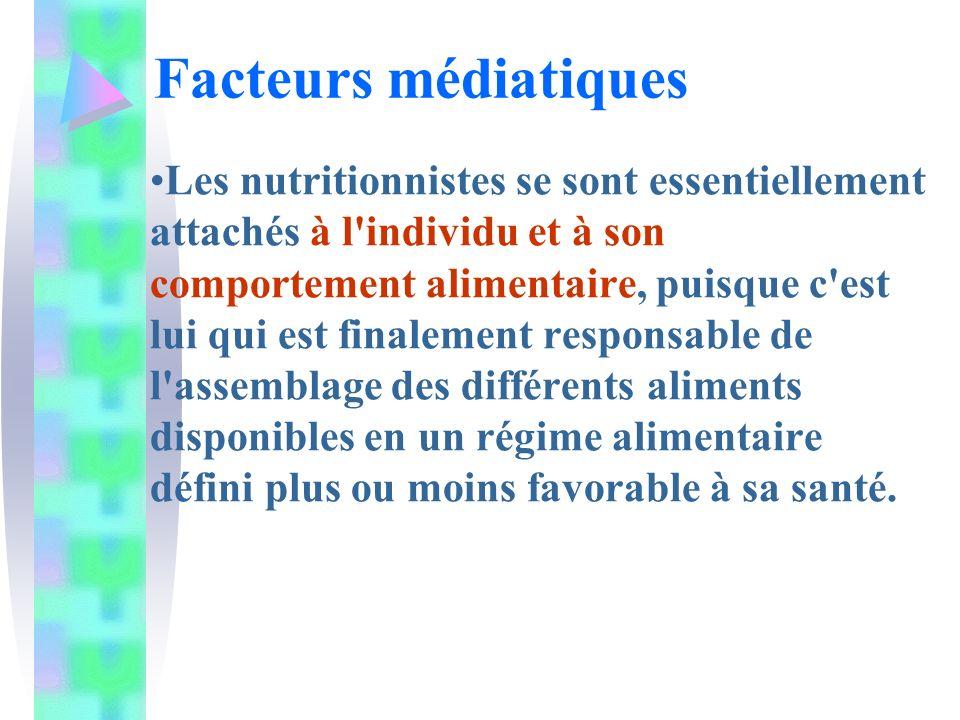 Les nutritionnistes se sont essentiellement attachés à l'individu et à son comportement alimentaire, puisque c'est lui qui est finalement responsable