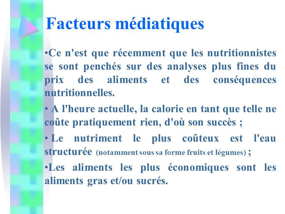 Ce n'est que récemment que les nutritionnistes se sont penchés sur des analyses plus fines du prix des aliments et des conséquences nutritionnelles. A