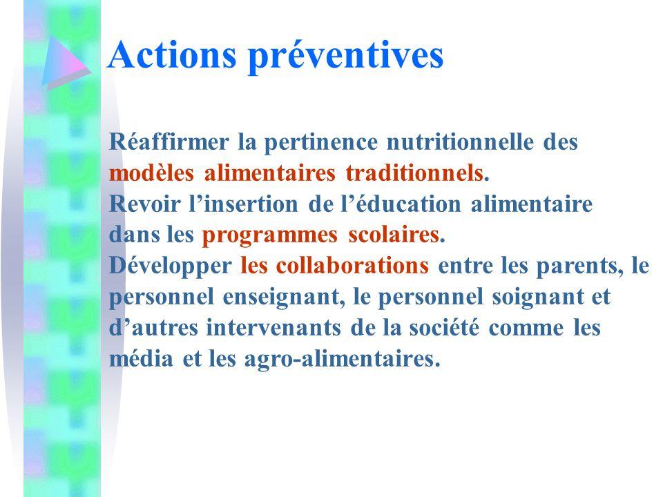 Actions préventives Réaffirmer la pertinence nutritionnelle des modèles alimentaires traditionnels. Revoir linsertion de léducation alimentaire dans l