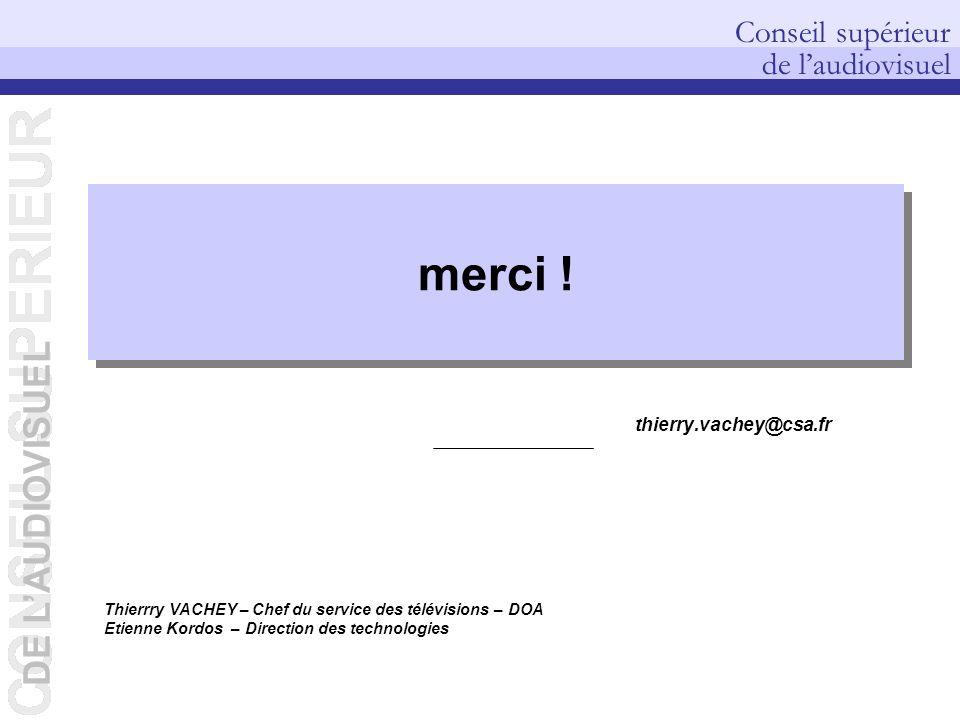 DE LAUDIOVISUEL Conseil supérieur de laudiovisuel DEP – Pierre PETILLAULT, Didier GUILLOUX, Bernard CELLI – 20/10/2006 Thierrry VACHEY – Chef du servi