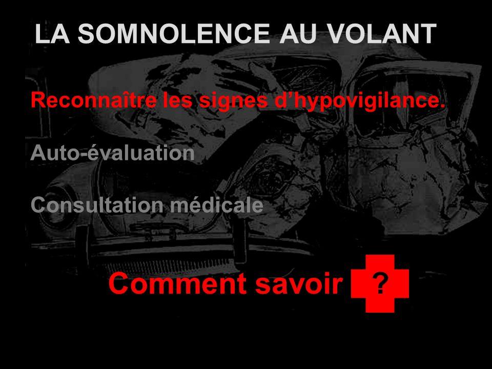 LA SOMNOLENCE AU VOLANT Reconnaître les signes dhypovigilance. Auto-évaluation Consultation médicale Comment savoir?