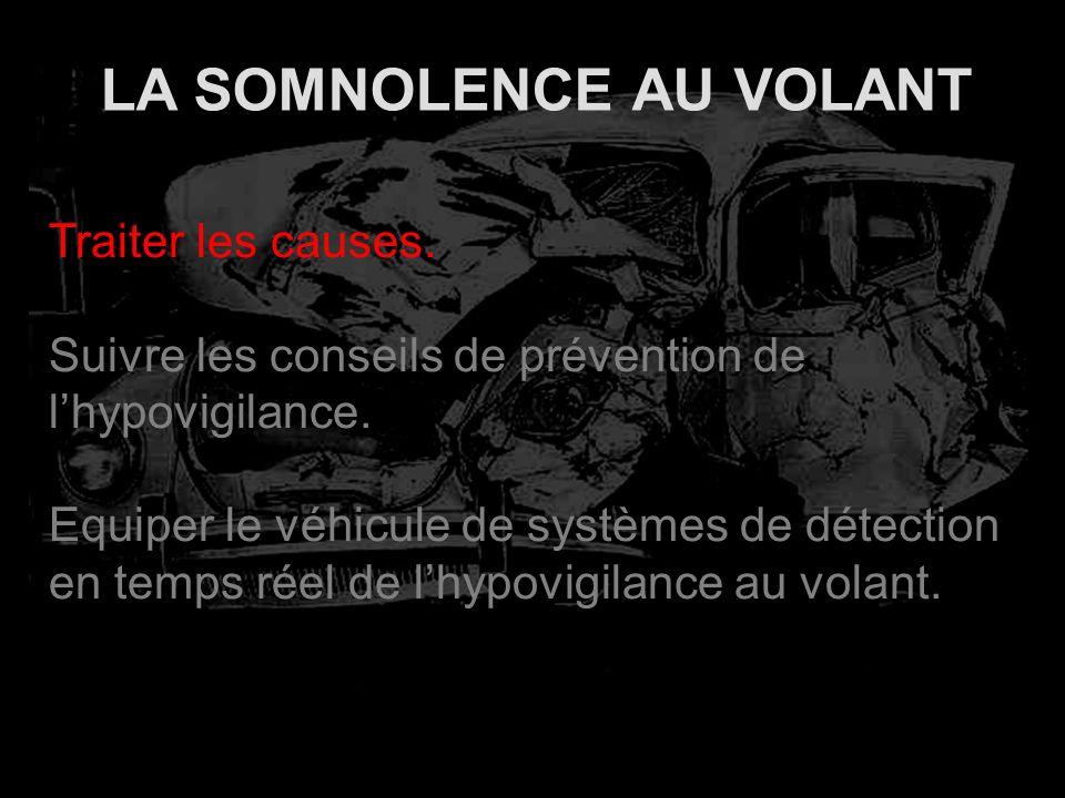 LA SOMNOLENCE AU VOLANT Traiter les causes. Suivre les conseils de prévention de lhypovigilance. Equiper le véhicule de systèmes de détection en temps