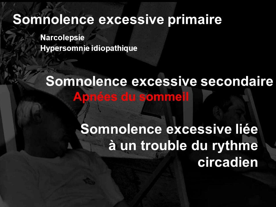 Somnolence excessive primaire Narcolepsie Hypersomnie idiopathique Somnolence excessive liée à un trouble du rythme circadien Somnolence excessive secondaire Apnées du sommeil