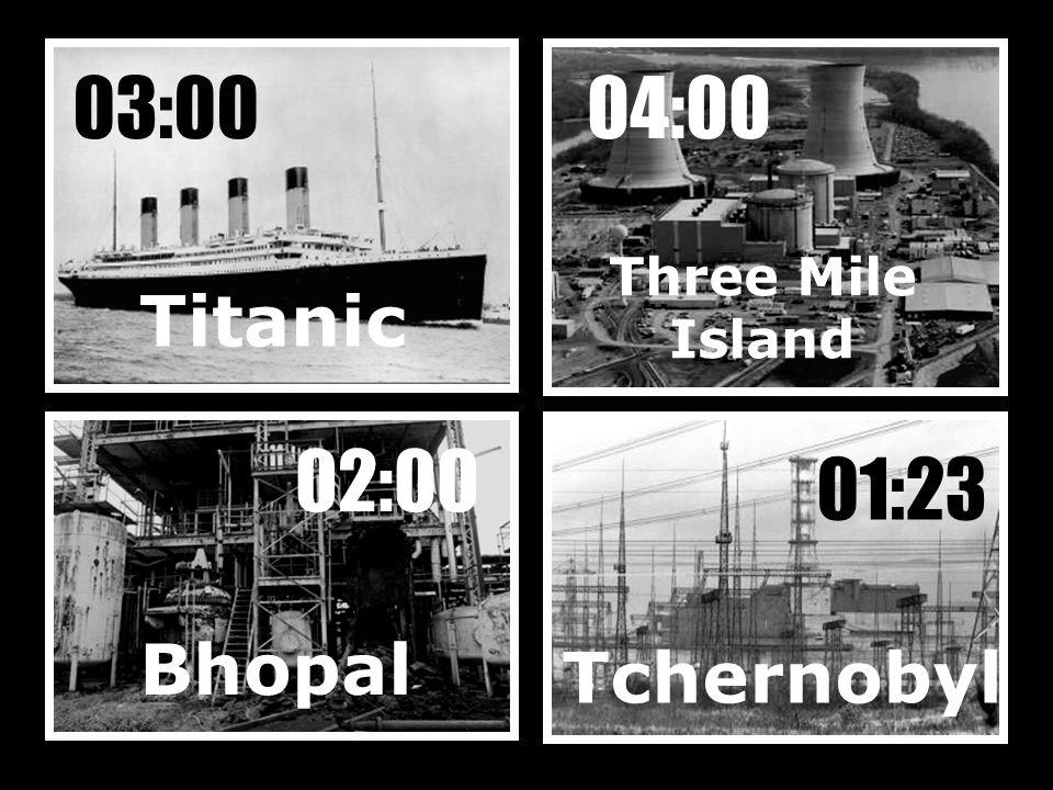 Titanic 03:00 Tchernobyl 01:23 Three Mile Island Bhopal 04:00 02:00