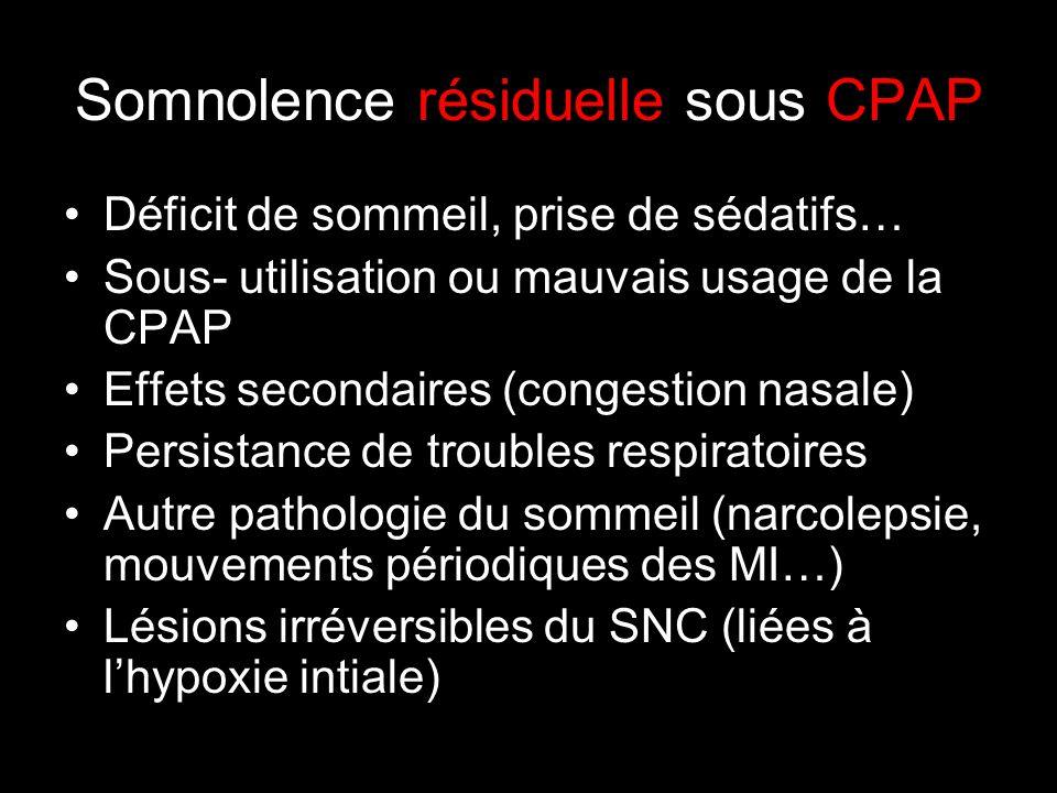 Somnolence résiduelle sous CPAP Déficit de sommeil, prise de sédatifs… Sous- utilisation ou mauvais usage de la CPAP Effets secondaires (congestion nasale) Persistance de troubles respiratoires Autre pathologie du sommeil (narcolepsie, mouvements périodiques des MI…) Lésions irréversibles du SNC (liées à lhypoxie intiale)
