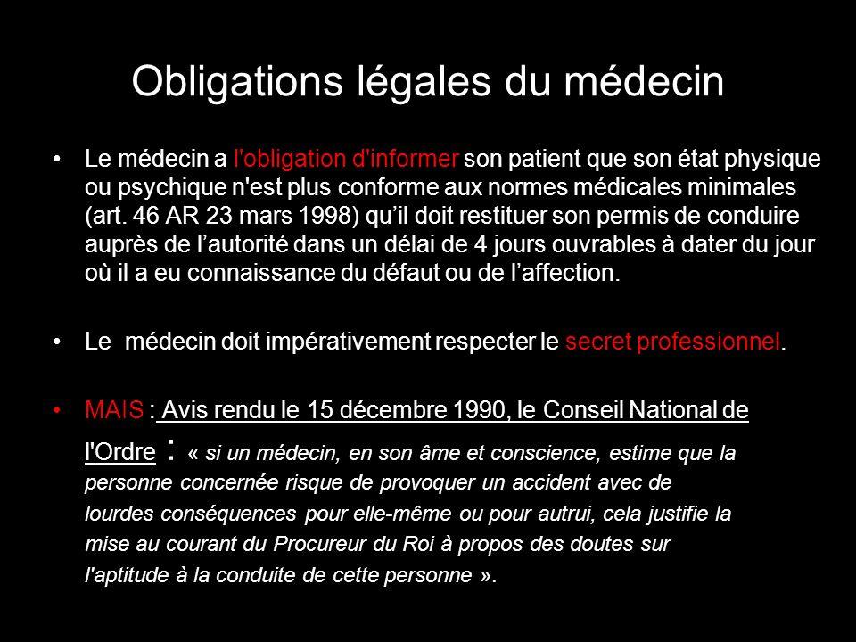 Obligations légales du médecin Le médecin a l obligation d informer son patient que son état physique ou psychique n est plus conforme aux normes médicales minimales (art.