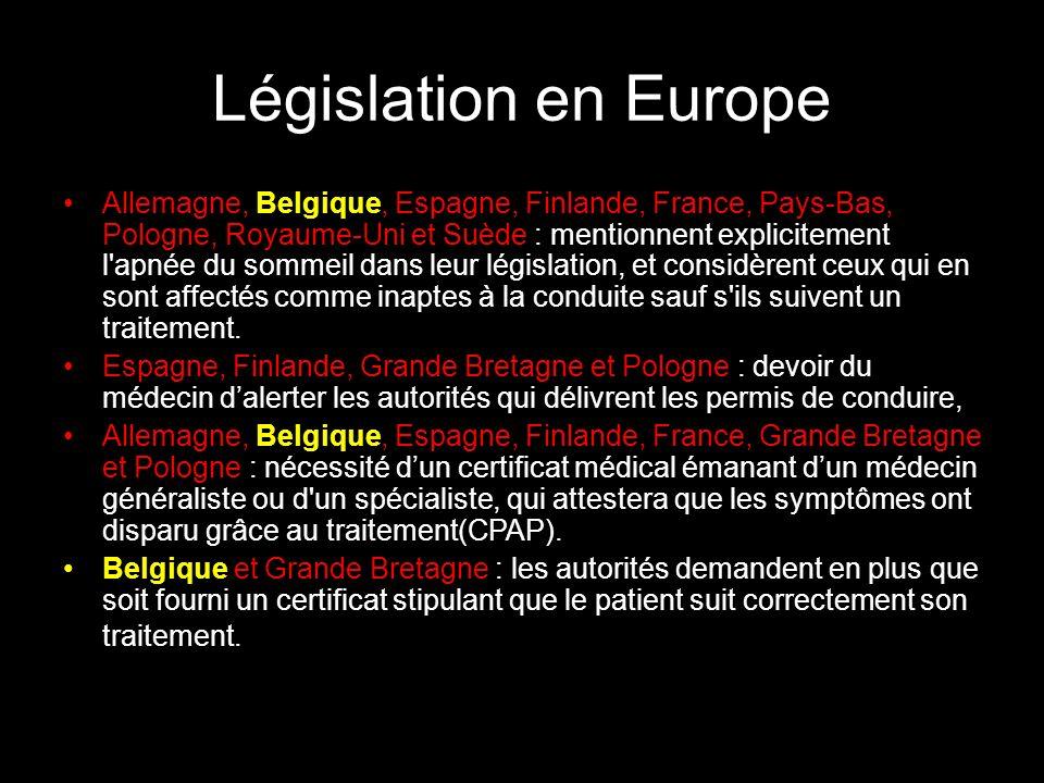 Législation en Europe Allemagne, Belgique, Espagne, Finlande, France, Pays-Bas, Pologne, Royaume-Uni et Suède : mentionnent explicitement l'apnée du s