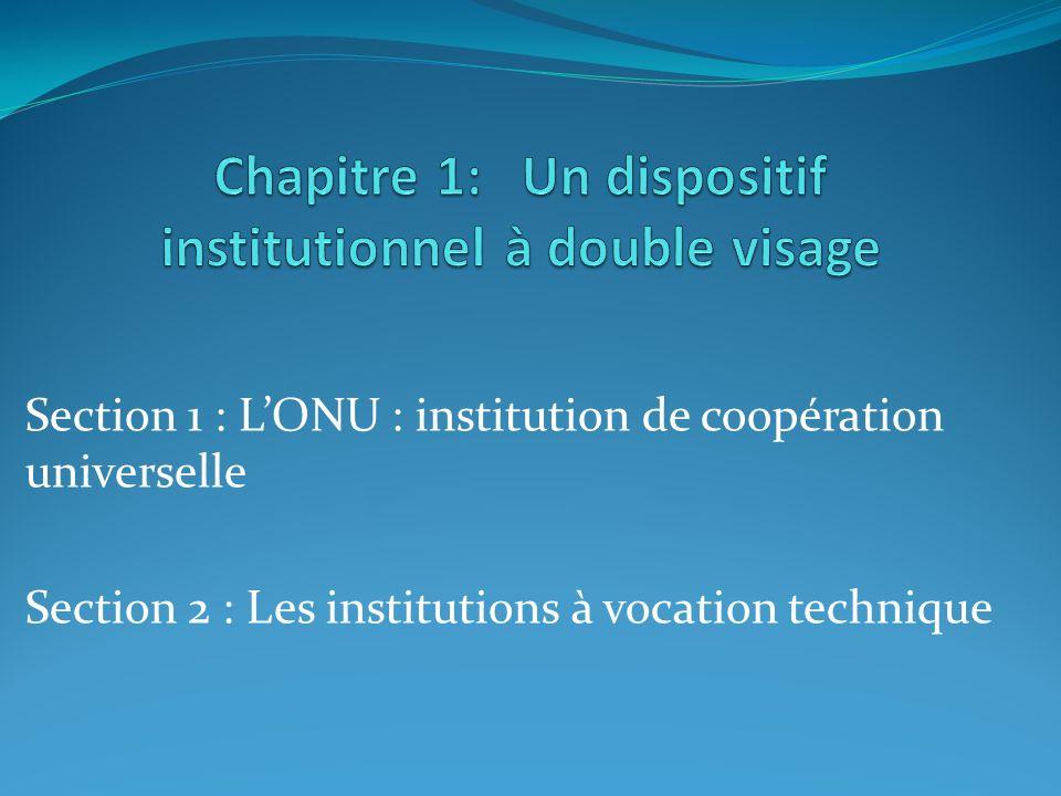 Section 1 : LONU : institution de coopération universelle Section 2 : Les institutions à vocation technique