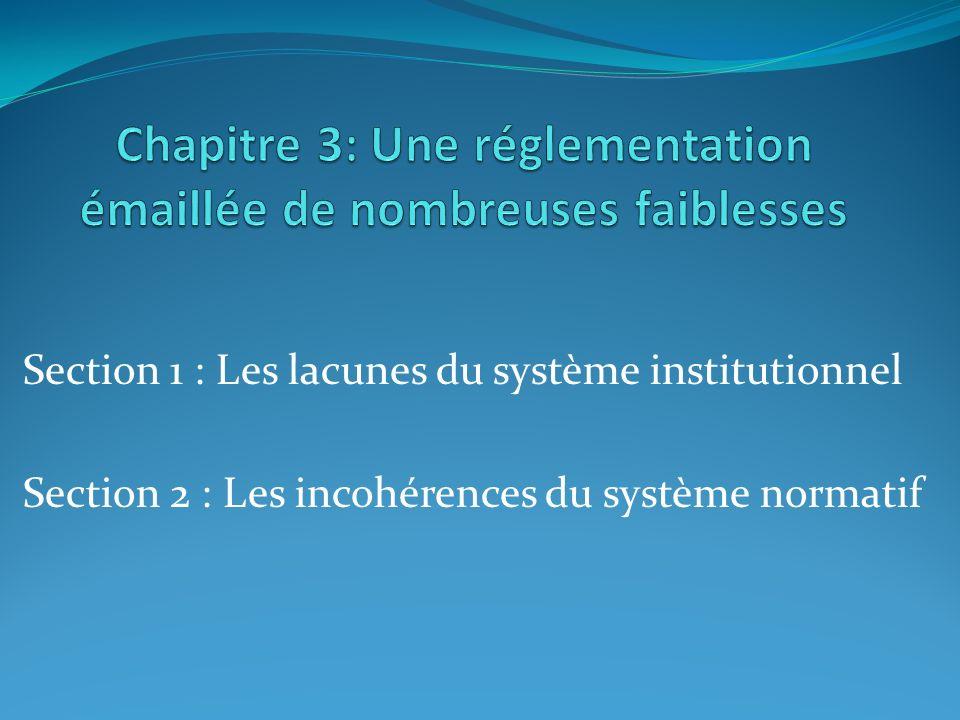 Section 1 : Les lacunes du système institutionnel Section 2 : Les incohérences du système normatif