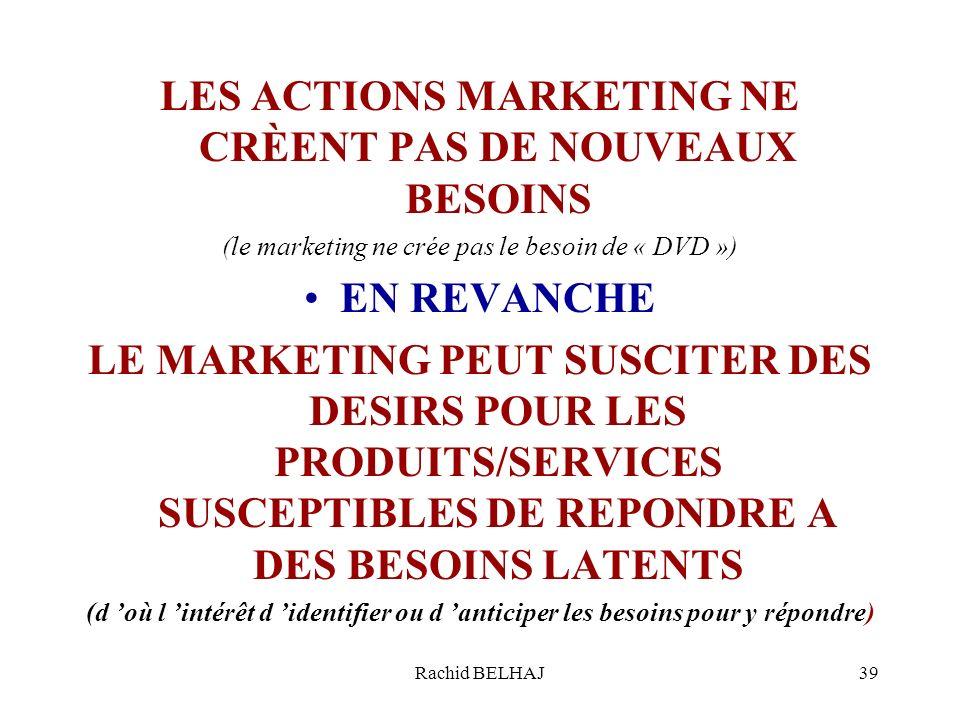 Rachid BELHAJ39 LES ACTIONS MARKETING NE CRÈENT PAS DE NOUVEAUX BESOINS (le marketing ne crée pas le besoin de « DVD ») EN REVANCHE LE MARKETING PEUT SUSCITER DES DESIRS POUR LES PRODUITS/SERVICES SUSCEPTIBLES DE REPONDRE A DES BESOINS LATENTS (d où l intérêt d identifier ou d anticiper les besoins pour y répondre)