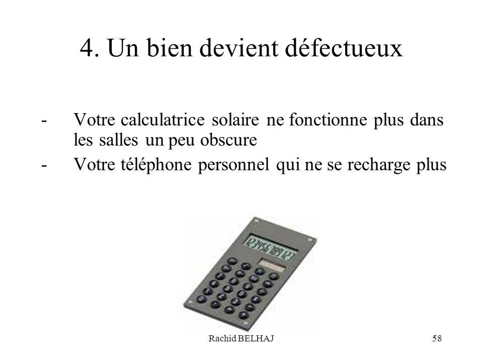 Rachid BELHAJ58 4. Un bien devient défectueux -Votre calculatrice solaire ne fonctionne plus dans les salles un peu obscure -Votre téléphone personnel