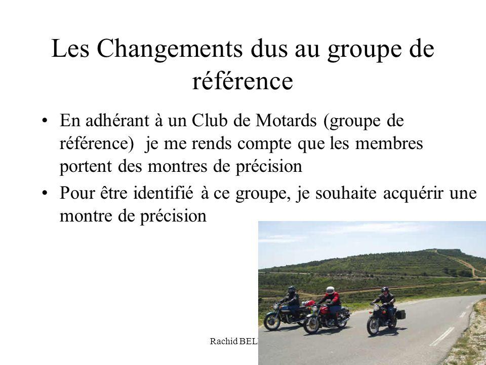 Rachid BELHAJ64 Les Changements dus au groupe de référence En adhérant à un Club de Motards (groupe de référence) je me rends compte que les membres p