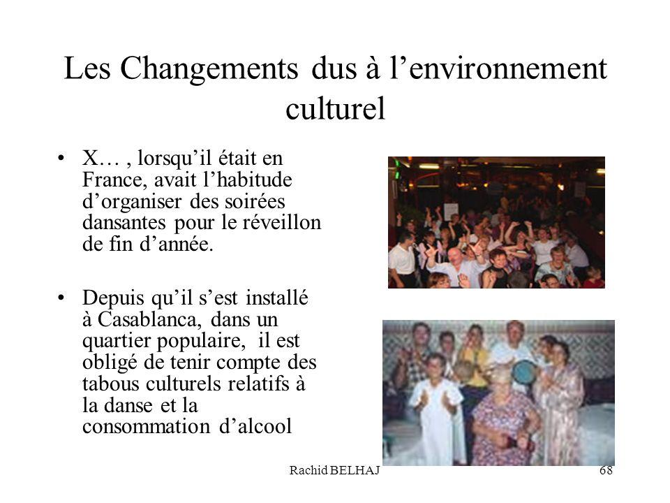 Rachid BELHAJ68 Les Changements dus à lenvironnement culturel X…, lorsquil était en France, avait lhabitude dorganiser des soirées dansantes pour le r