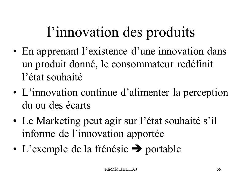 Rachid BELHAJ69 linnovation des produits En apprenant lexistence dune innovation dans un produit donné, le consommateur redéfinit létat souhaité Linno