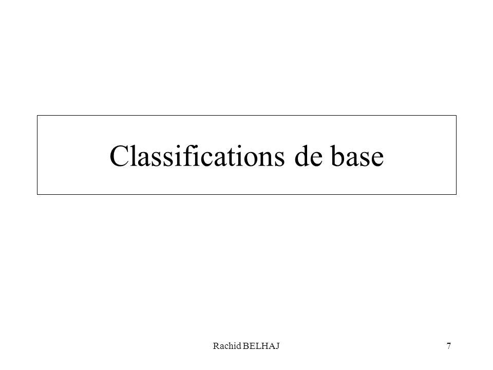Rachid BELHAJ7 Classifications de base