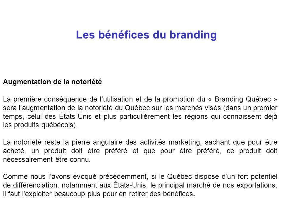 Augmentation de la notoriété La première conséquence de lutilisation et de la promotion du « Branding Québec » sera laugmentation de la notoriété du Q