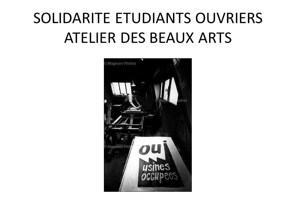 SOLIDARITE ETUDIANTS OUVRIERS ATELIER DES BEAUX ARTS