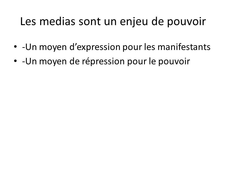 Les medias sont un enjeu de pouvoir -Un moyen dexpression pour les manifestants -Un moyen de répression pour le pouvoir