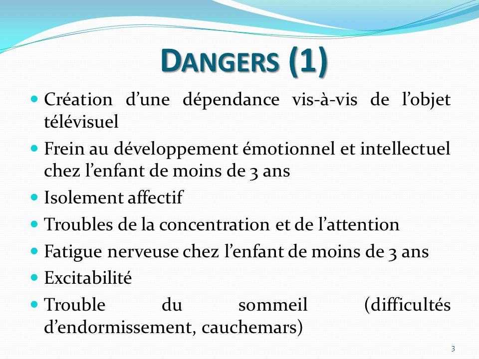 D ANGERS (2) Anxiété, peurs Diminue lélan créatif Conséquences sur la santé Dysfonctionnement langagier Perte de communication au sein de la famille Perception du monde altéré Indifférence à la violence, agressivité 4