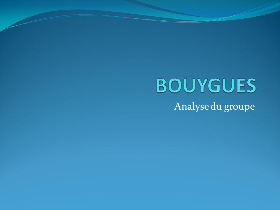 Analyse général du groupe Découpé en 3 secteurs dactivités: Construction: BTP Bouygues Immobilier Colas Télécoms et Médias: TF1 Bouygues Télécoms Energie – Transports: Alstom