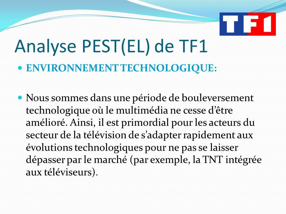 Analyse PEST(EL) de TF1 ENVIRONNEMENT TECHNOLOGIQUE: Nous sommes dans une période de bouleversement technologique où le multimédia ne cesse dêtre amél