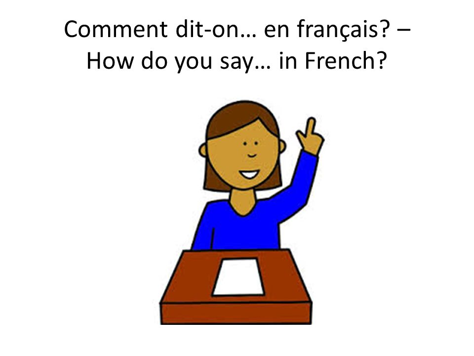 Comment dit-on… en français? – How do you say… in French?