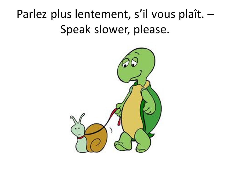 Parlez plus lentement, sil vous plaît. – Speak slower, please.