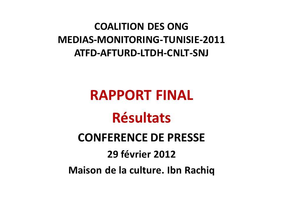 COALITION DES ONG MEDIAS-MONITORING-TUNISIE-2011 ATFD-AFTURD-LTDH-CNLT-SNJ RAPPORT FINAL Résultats CONFERENCE DE PRESSE 29 février 2012 Maison de la culture.