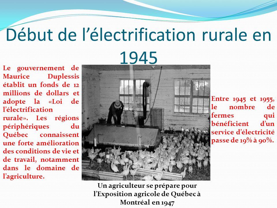 Début de lélectrification rurale en 1945 Le gouvernement de Maurice Duplessis établit un fonds de 12 millions de dollars et adopte la «Loi de lélectri