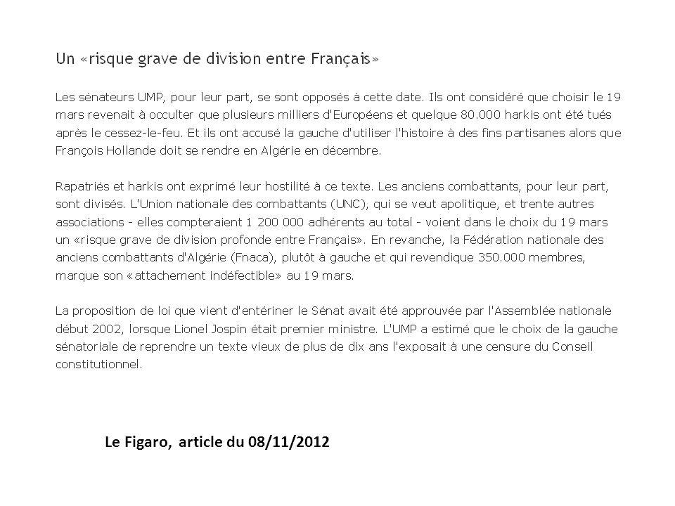 Le Figaro, article du 08/11/2012