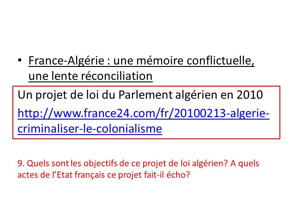 France-Algérie : une mémoire conflictuelle, une lente réconciliation Un projet de loi du Parlement algérien en 2010 http://www.france24.com/fr/2010021