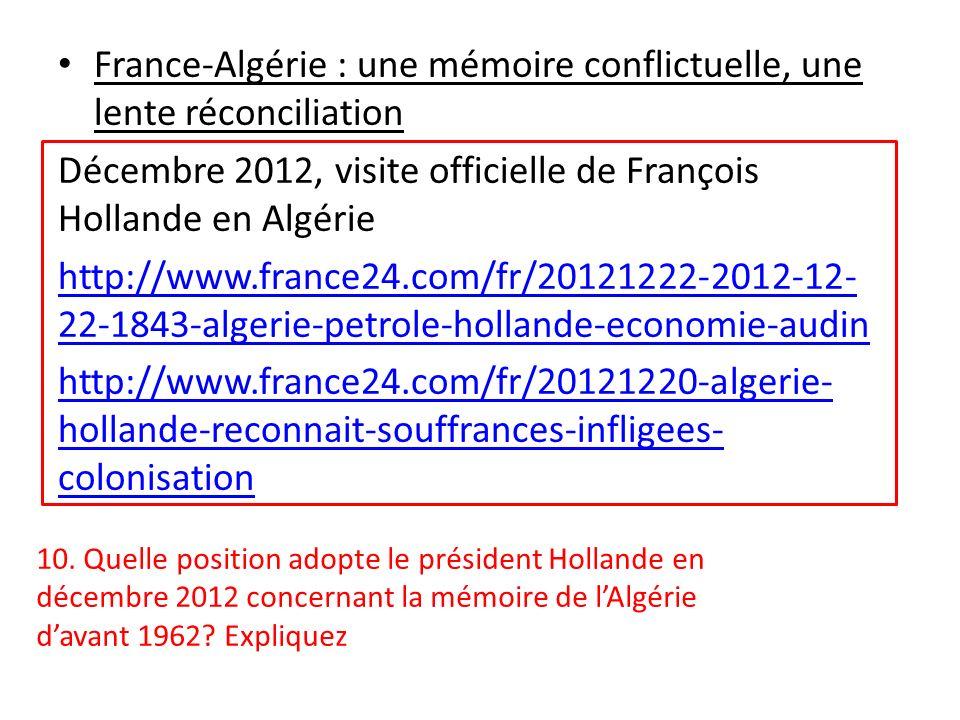 France-Algérie : une mémoire conflictuelle, une lente réconciliation Décembre 2012, visite officielle de François Hollande en Algérie http://www.franc