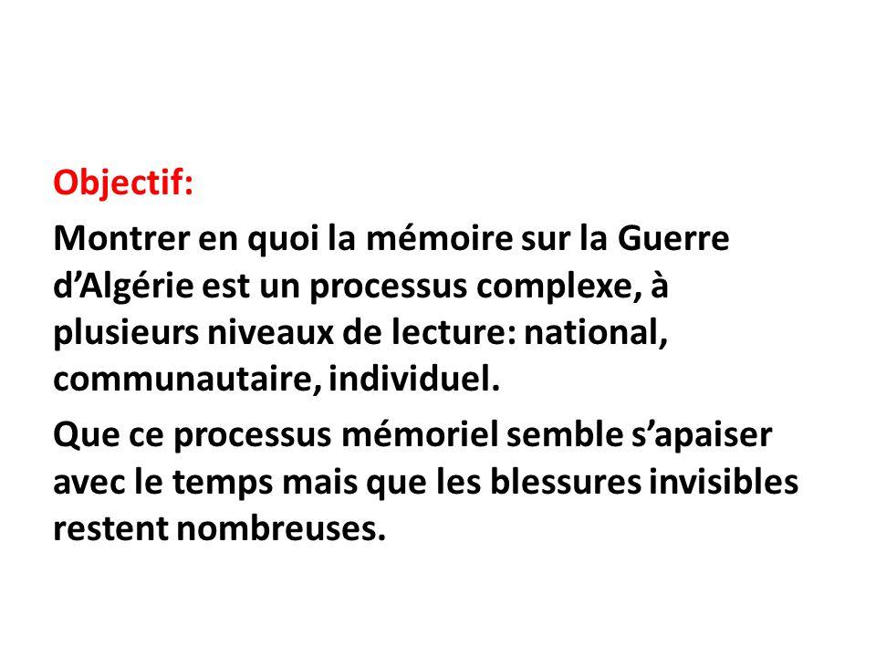 Objectif: Montrer en quoi la mémoire sur la Guerre dAlgérie est un processus complexe, à plusieurs niveaux de lecture: national, communautaire, indivi