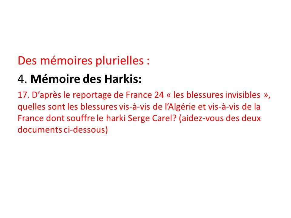 Des mémoires plurielles : 4. Mémoire des Harkis: 17. Daprès le reportage de France 24 « les blessures invisibles », quelles sont les blessures vis-à-v