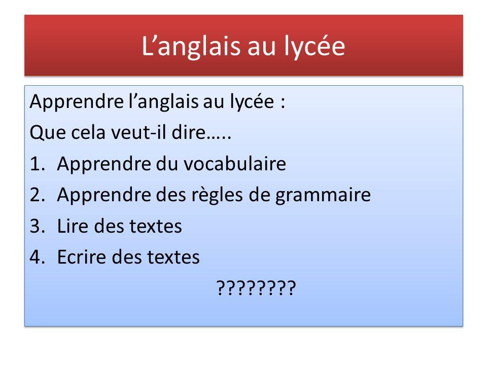 Langlais au lycée Apprendre langlais au lycée : Que cela veut-il dire…..