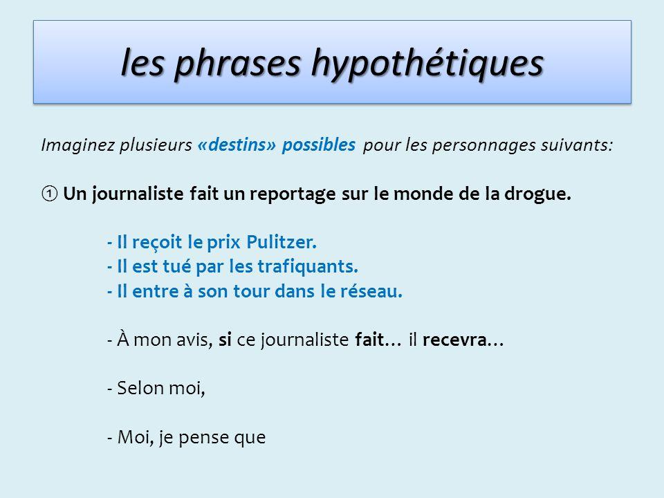 les phrases hypothétiques Imaginez plusieurs «destins» possibles pour les personnages suivants: Un journaliste fait un reportage sur le monde de la dr