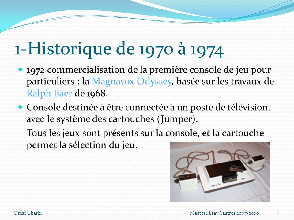 1-Historique de 1970 à 1974 1972 commercialisation de la première console de jeu pour particuliers : la Magnavox Odyssey, basée sur les travaux de Ral