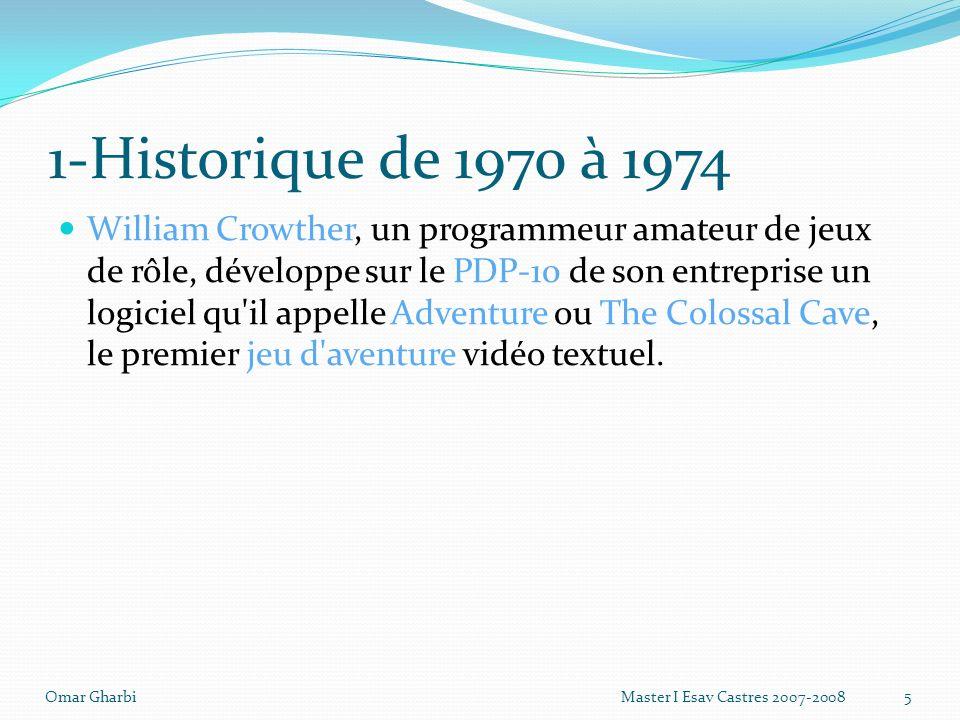 1-Historique de 1970 à 1974 William Crowther, un programmeur amateur de jeux de rôle, développe sur le PDP-10 de son entreprise un logiciel qu'il appe